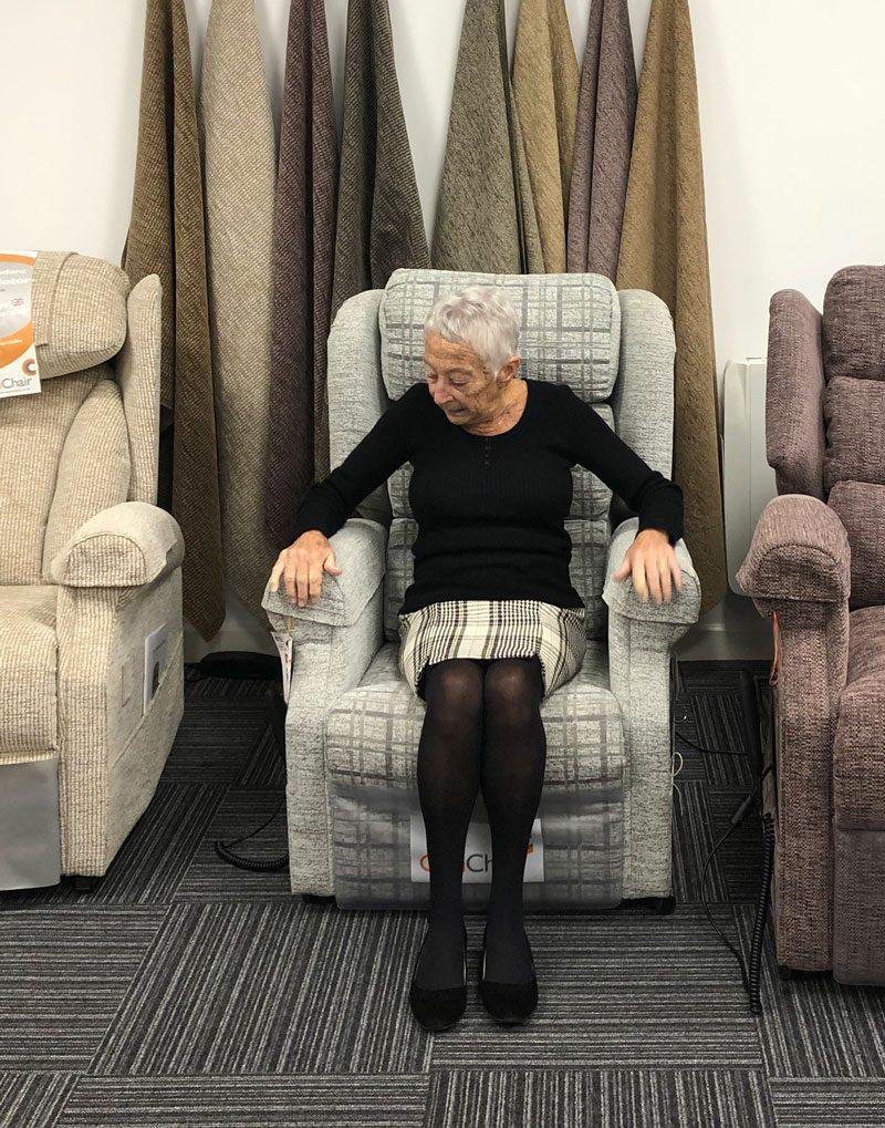 Devon Mobility Solutions Showroom-try-cosy-chair-devon